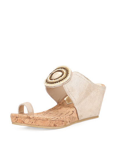 Gaya Toe-Ring Wedge Sandal, Platino