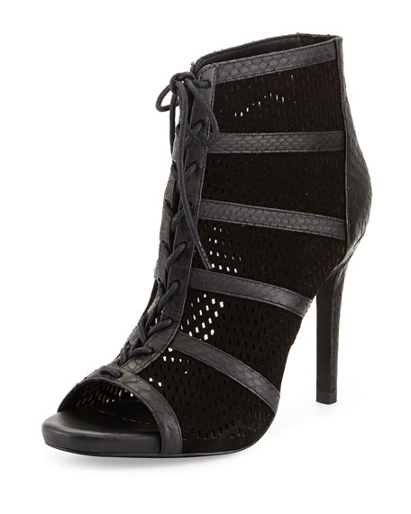 Shari Perforated Snake-Embossed Leather Bootie, Black