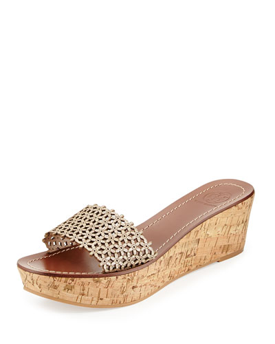 Floral Metallic Leather Wedge Sandal, Gold