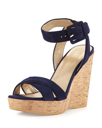 Annex Suede Wedge Sandal, Nice Blue