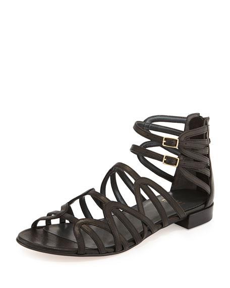 Stuart Weitzman Athens Leather Gladiator Sandal, Black