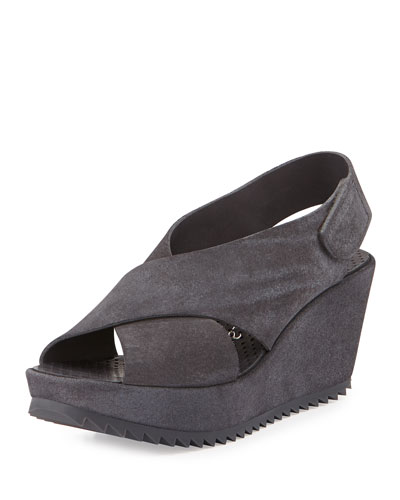 Federica Suede Wedge Sandal, Grey