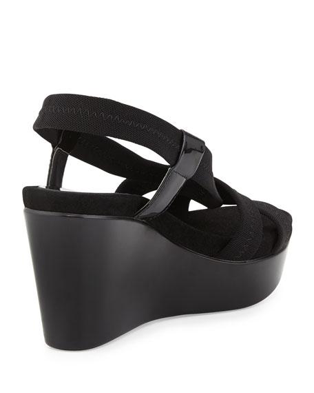 Jemm Stretch Wedge Sandal, Black
