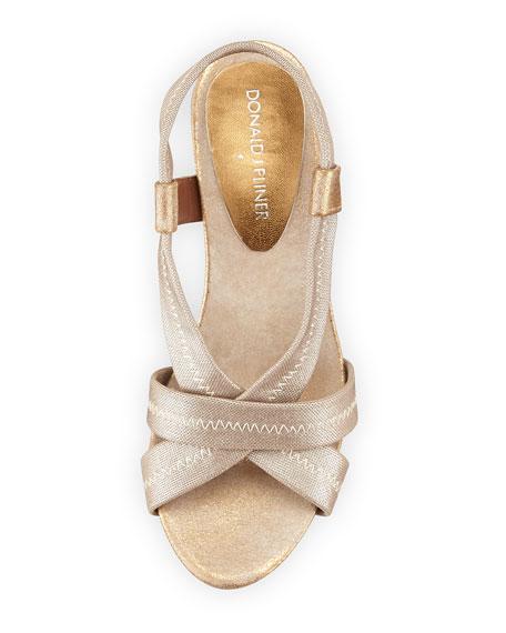 Jemm Metallic Stretch Wedge Sandal, Natural