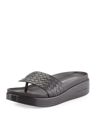 Fifi Woven Platform Sandal, Black