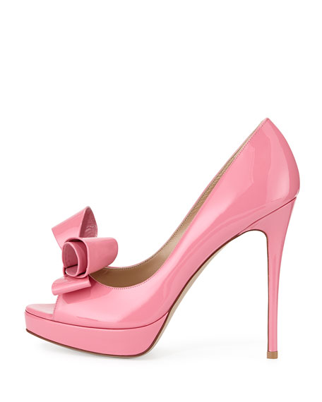 Patent Peep-Toe Bow Pump, Pink
