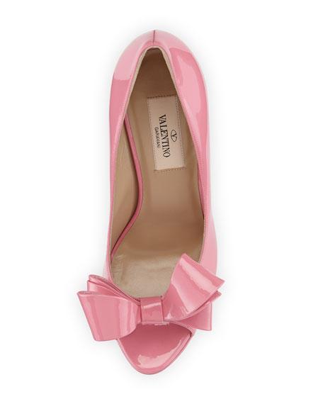 Valentino Patent Peep-Toe Bow Pump, Pink