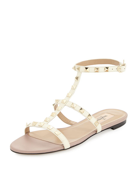 Valentino Garavani Rockstud Ankle-Strap Flat Sandal, Ivory