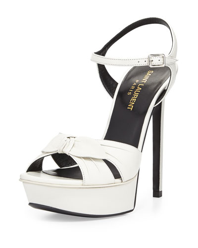 Bianca Leather Bow Sandal, Blanc Gris