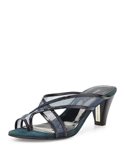 Velo Mesh Toe-Ring Sandal, Navy