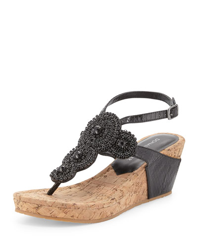 Geegi Snakeskin Wedge Sandal, Black