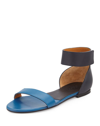 Gala Two-Tone Leather Sandal, Navy/Blue