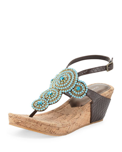 Geegi Snakeskin Wedge Sandal, Brown/Turquoise