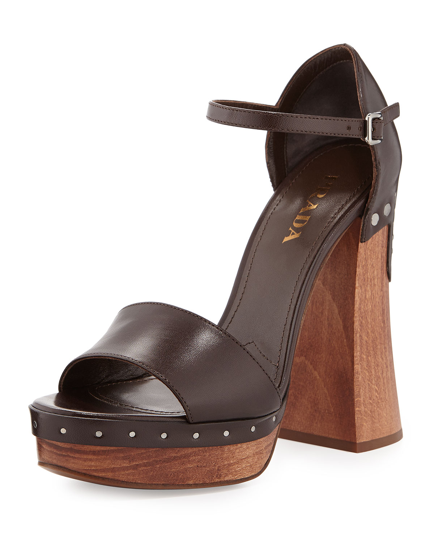 Prada Leather Ankle-Wrap Clog-Bottom Sandal, Caffe