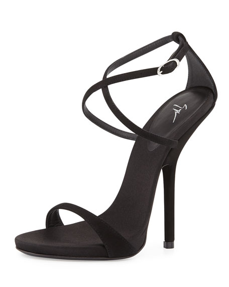Strappy Crisscross High Heel Sandal, Black