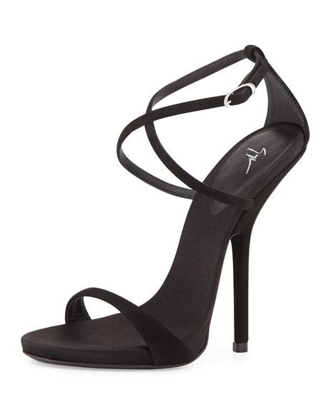 Giuseppe Zanotti Strappy Crisscross High Heel Sandal, Black