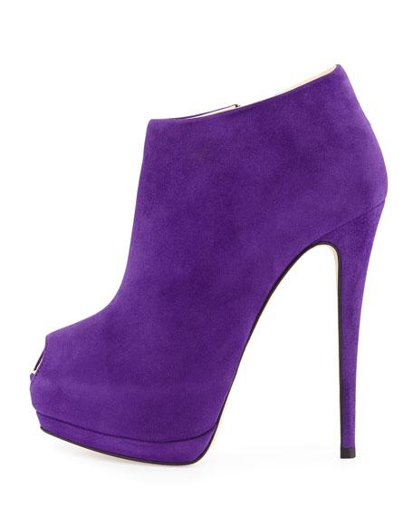 Suede Peep-Toe Platform Bootie, Purple