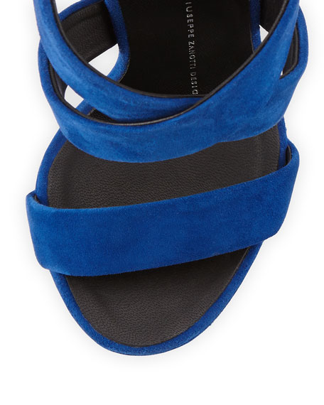 Sculpted Suede Crisscross Wedge Sandal, Blue