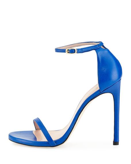 Nudist Leather Ankle-Strap Sandal, Ultramarine