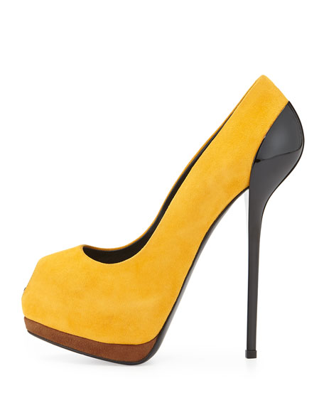 Suede Peep-Toe Platform Pump, Dark Yellow