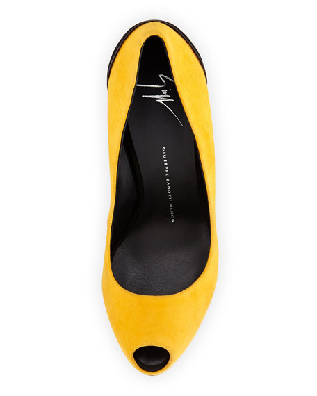 Suede Peep-Toe Platform Pump, Dark Yellow