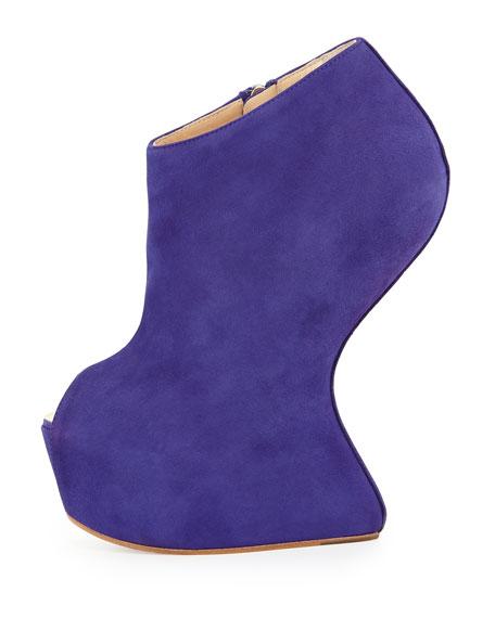 Suede Peep-Toe Wedge Bootie, Purple