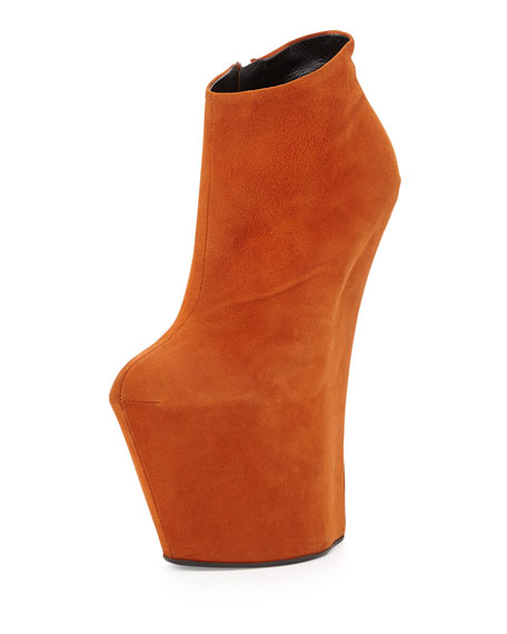 Suede Sculpted Wedge Bootie, Ginger