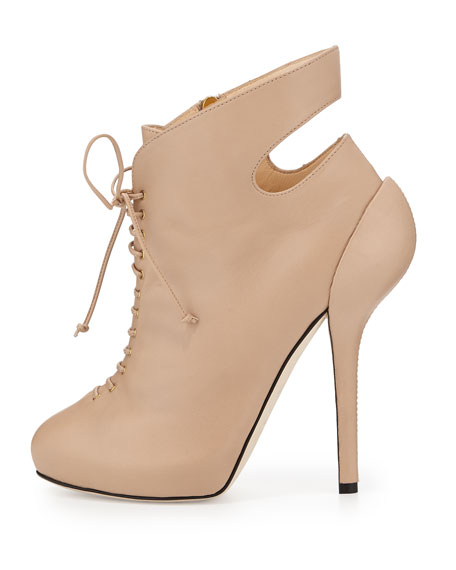 Giuseppe Zanotti Leather High-Heel Lace-Up Bootie, Blush