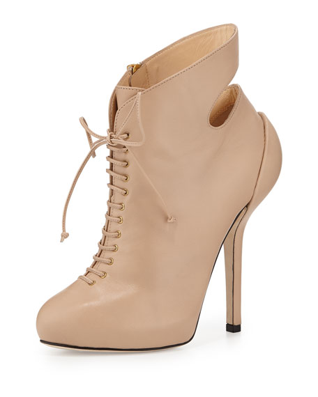 Leather High-Heel Lace-Up Bootie, Blush