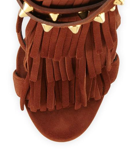 Suede High-Heel Sandal with Fringe