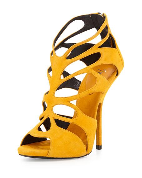 Suede Caged High-Heel Sandal, Mustard