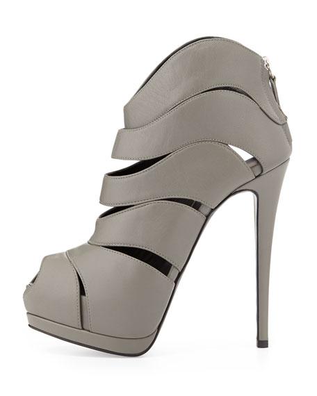 Strappy Peep-Toe High-Heel Bootie, Gray