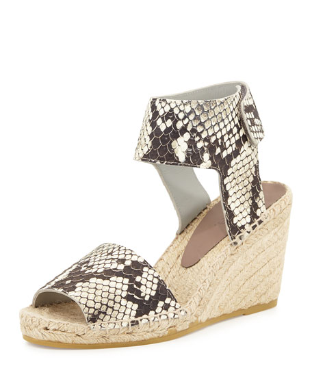 Vince Sophie Python-Print Leather Espadrille Wedge, Black/White