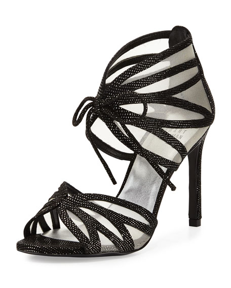 Openleaf Leather Tie-Front Sandal, Night