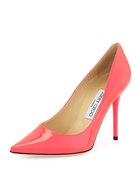Jimmy Choo Abel Neon Patent Leather Pump, Pink