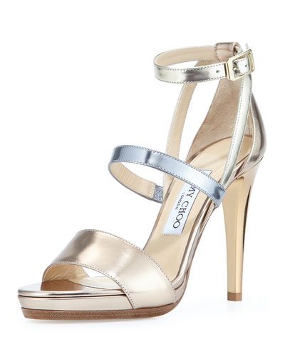 Dose Metallic Leather Sandal, Beige
