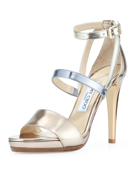 Jimmy ChooDose Metallic Leather Sandal, Beige
