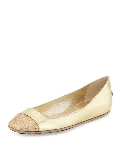 Gavot Metallic Leather Ballerina Flat, Gold