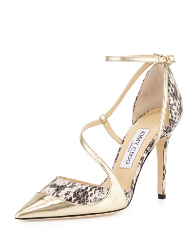 Mutya Snakeskin Point-Toe Pump