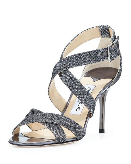 Jimmy Choo Louise Glitter Fabric Crisscross Sandal, Gray