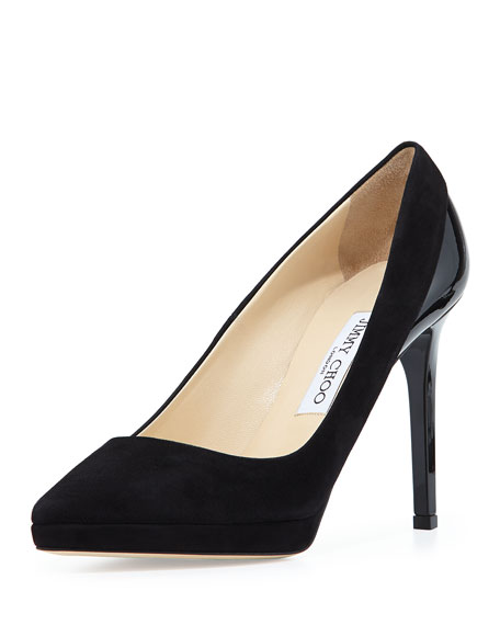Jimmy Choo Rudy Glitter Fabric Platform Pump, Gray
