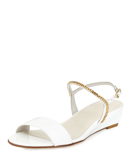 Stuart Weitzman Sweeper Chain Demi Wedge Sandal White