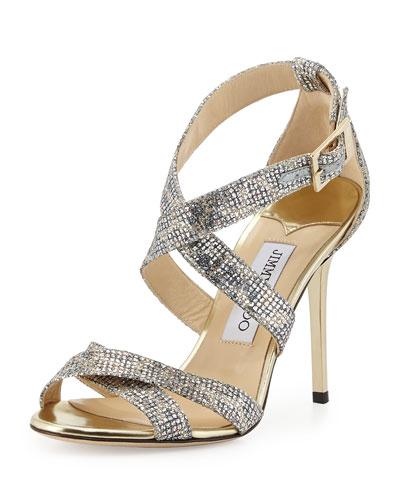 Lottie Leopard-Print Glitter Sandal, Champagne