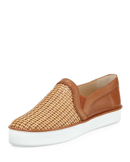 Stuart Weitzman Weavewear Woven Slip-On Sneaker, Camel
