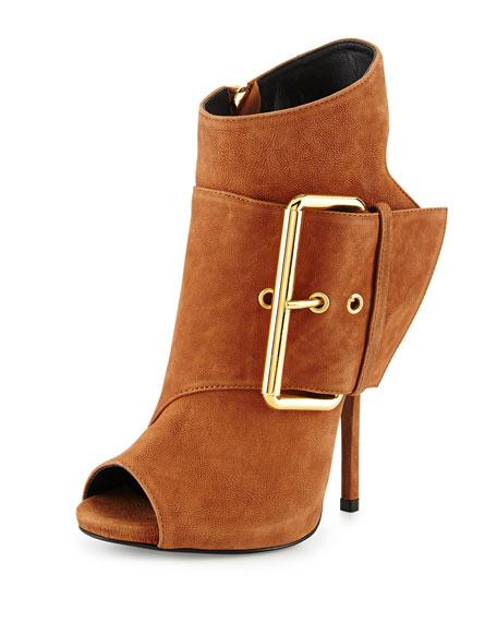 Leather Peep-Toe High-Heel Bootie, Light Brown