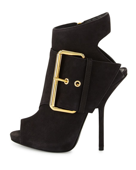 Leather Peep-Toe High-Heel Bootie,