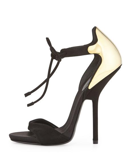Suede Open-Toe Lace-Up Sandal, Black