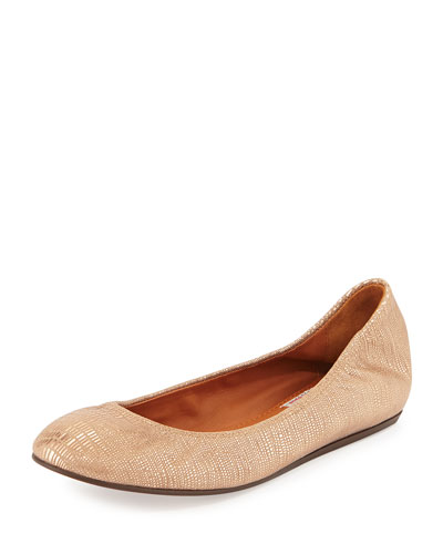 Metallic Leather Ballerina Flat, Bronze