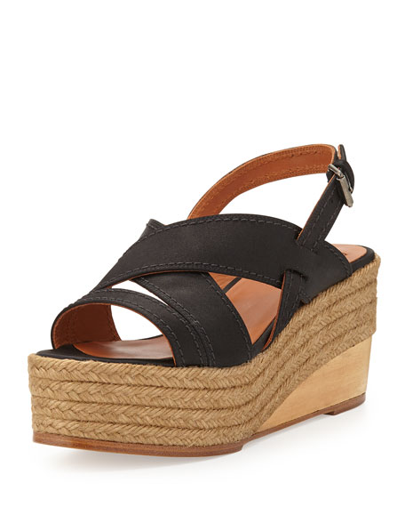 Lanvin Satin Espadrille Wedge Sandal, Black