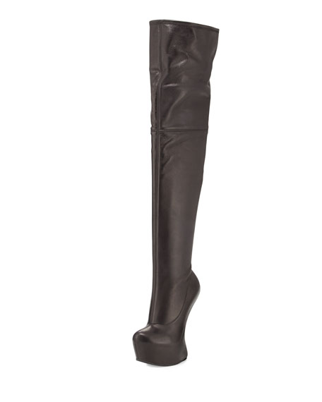 giuseppe zanotti thigh high wedge platform boot black